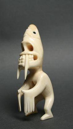 tupilak -Inuit Gallery of Vancouver - Native Indian, Native Art, Native American Art, Sculpture Art, Sculptures, Bone Crafts, Inuit Art, Bone Carving, Indigenous Art