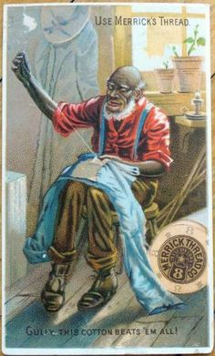 Victorian Trade Card Black Man Handstitching Sewing Merrick Thread Co