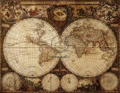 Старинная карта мира станет украшением любого интерьера.