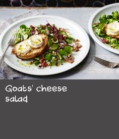 Goats' cheese salad        A simple and adaptable recipe to make salad a satisfying main meal. The key is getting the right balance of flavours and texture. Choose a mixture of salad leaves and swap the cheese for the protein of your choice.Each serving contains 637kcal, 19g protein, 23g carbohydrate (of which 5.5g sugars), 51g fat (of which 13g saturates), 4g fibre and1.8g salt. Goat Cheese Recipes, Goat Cheese Salad, Tarragon Vinegar, Main Meals, Mashed Potatoes, Goats, Food To Make, Maine, Bacon