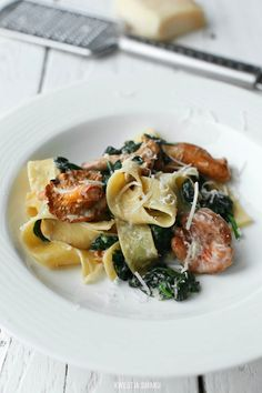 Pappardelle With Chanterelle Mushrooms & Spinach #recipe #food #dinner #lunch
