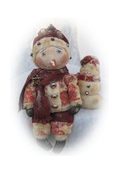 Primitive Snowman and His Little Snowman by Countrygirlprims, $5.95