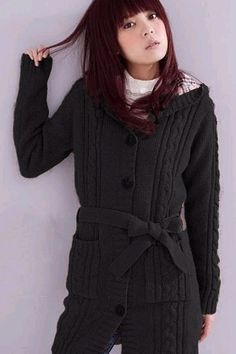 Cheap New Style O Neck Long Sleeves Single-breasted Black Long Knitting Cardigan Sweater