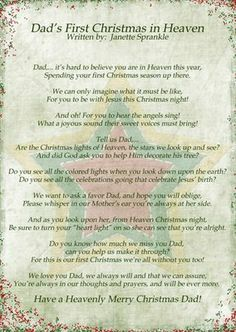 Merry Christmas From Heaven Poem Printable.My First Christmas In Heaven Poem Spanish Textpoems Org