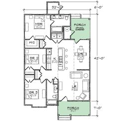 2 bedroom house plans 1000 square feet home plans for Award winning narrow lot house plans