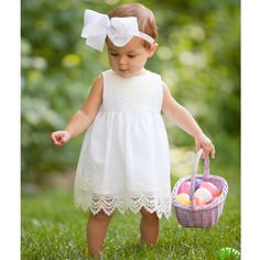 Pre Sell: Peaches 'n Cream Linen Dress with Diaper Cover. An adorable Easter outfit for baby girls!