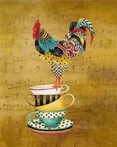 Rooster With Tea Cups. Artwork by Jennifer Lambein
