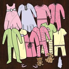 Slumber Party Paper Doll Outfits. $20.00, via Etsy.