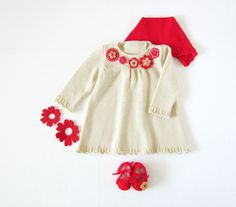 Knitted dress, cap and shoes set for baby girl, in pearl and red. Felt flowers. 100% merino wool. READY TO SHIP in size Newborn