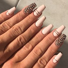 Coffin beige/nude nails with thin gold stripes and stones