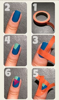 15 DIY Nail Tutorials With Scotch Tape- awesome...maybe I will actually have time to do my nails someday