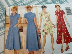 Butterick Pattern 4387 Dress Pattern Sizes 12 14 16 Uncut   Etsy Vogue Dress Patterns, Shirtwaist Dress, Full Skirt Dress, Creative Skills, Simple Dresses, Front Button, Flare Dress, Beautiful Outfits, Doll Clothes