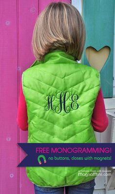 FREE MONOGRAMMING (limited time) on my new MagnaMini Chevron-Quilted Childrens Vests!    NO BUTTONS OR ZIPS, these easy to close vests close with