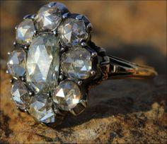 Gorgeous!!! Huge Antique Georgian Rose Cut Diamond Cluster Ring