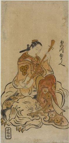 """Actor Onogawa Orie as a Courtesan Parodying the Bodhisattva Samantabhadra (Fugen Bosatsu) Seated on an Elephant"" (Edo period, c. 1720s), attributed to Okumura Masanobu, Japan via Harvard Art Museums."