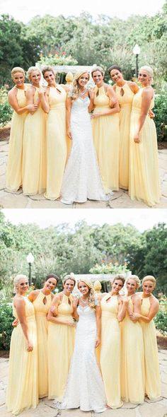 Keyhole Daffodil Pleated Chiffon Bridesmaid Dresses,  Light Yellow Bridesmaid Dresses, Long  Bridesmaid Dresses