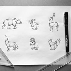 Geometric animals #art #illustration #dotwork #tattoo #geometric #minimalistic #forest #animals
