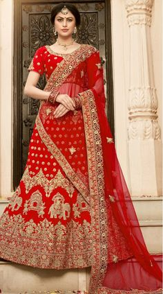 Red Color Pure Heavy Silk Bridal Lehenga Descripiton : Fabric of this bridal lehenga is pure heavy silk. Comes along with a pure heavy silk choli and net dupatta. This lehenga is semi stitch you can stitch as your requirement. This lehenga has digi Bridal Lehenga Online, Designer Bridal Lehenga, Indian Bridal Lehenga, Lehenga Choli Online, Silk Lehenga, Anarkali, Ghagra Choli, Lehnga Blouse, Suits