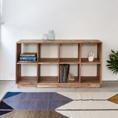 LAXseries 4x2 Bookcase | Low solid wood book shelf with cube storage compartments