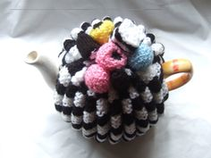 hand knitted tea cosy cosie black and white with by TWINKKNITS, £20.00