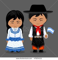 Argentines in national dress with a flag. Man and woman in traditional costume. Travel to Argentina. Costumes Around The World, World Thinking Day, Indian Bridal Fashion, Argentina Travel, Mexican Folk Art, Niece And Nephew, Wooden Dolls, Folk Costume, World Cultures
