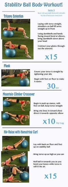 Stability ball-I like the plank variation with arms on ball and feet on a bench.
