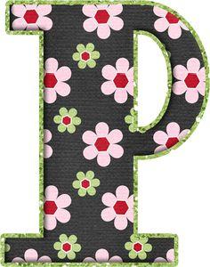 .Alfabeto de florecitas rosas ...De Eduarda Cavalcanti ...P