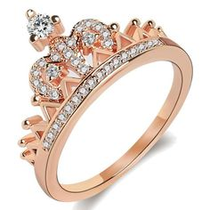 Women's Crown Tiara Rings Exquisite 18 K Rose Gold Plated Princess Tiny CZ Diamond Accented Promise Rings for Her Size 6 Daith Piercing, Piercings, King Ring, Mode Rose, Tiara Ring, Women Jewelry, Fashion Jewelry, Promise Rings For Her, Silver Hoop Earrings