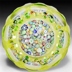 John Deacons (2015) close packed millefiori citron flash overlay glass paperweight. by John Deacons