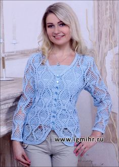 Blue lace jacket with pattern pineapple. Hook