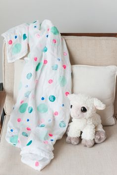DIY Polka Dot Swaddle Blanket