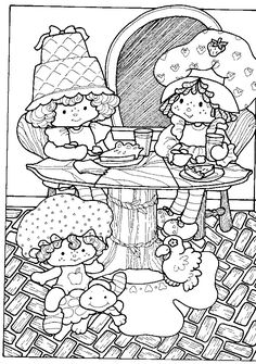 Cartoon Coloring Pages For Grown Ups Book Kids Sheets Strawberry Shortcake