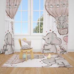 Excited to share this item from my #etsy shop: Elephants Baby Girl Room Curtains Nursery Curtains Window Curtains