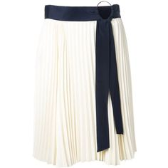 3.1 Phillip Lim belted pleated skirt (€465) ❤ liked on Polyvore featuring skirts, white, white short skirt, high waisted pleated skirt, patterned skirts, high waisted short skirts and asymmetrical skirt