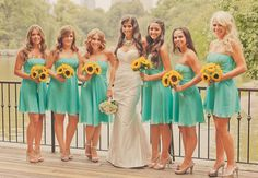 Tiffany blue brides maid dresses and sun flowers!