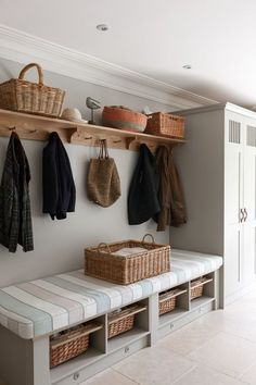 hallway storage or bootroom storage solution with comfy bench, coat hooks and storage cupboard custom built by mowlem & co .with these boot room ideas Boot Room Utility, Utility Room Ideas, Cupboard Storage, Boot Room Storage, Storage Baskets, Hallway Storage Bench, Entryway Bench, Coat And Shoe Storage, Utility Room Storage