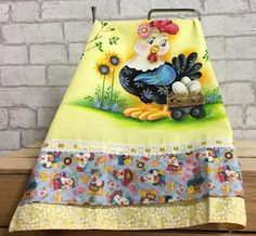 Tole Painting, Fabric Painting, Cute Aprons, Applique Designs, Rooster, Cow, Diy And Crafts, Quilts, Embroidery