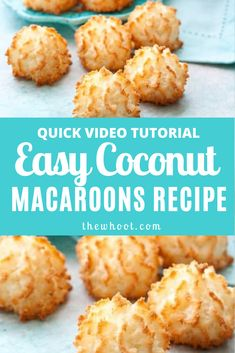 This easy coconut macaroons recipe has been hugely popular and you will love the delicious results. We have a quick video to show you how. Gluten Free Coconut Macaroons, Almond Macaroons, Coconut Cookies, Coconut Flour, Vegan Coconut Macaroons Recipe, Coconut Deserts, Gluten Free Macaroons, Macaroons Flavors, Pie Coconut