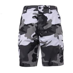 The Urban Camo BDU Military Shorts are made of cotton poly twill, have pull tab adjustable waist, six pocketed with two front slash pockets, two pleated bellows cargo pockets, two rear button flap pockets and a button fly. These Urban City Camo BDU Shorts are a favorite choice for outdoor, fashion and military wear.