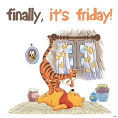 Winnie the Pooh and Tigger Winnie The Pooh Gif, Tigger And Pooh, Winnie The Pooh Friends, Pooh Bear, Eeyore, Snoopy Friday, Friday Meme, Friday Wishes, Happy Friday Quotes