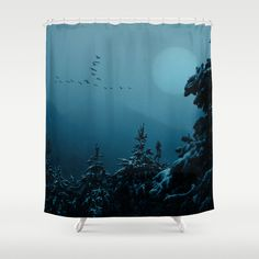 Winter morning in the mountains Shower Curtain Early winter morning in the mountains. A flock of birds is flying to the sun behind the falling snow.   Landscape, blue, mountains, fog, bird migration, silhouettes, snow, neo-mystical, trees, winter, sun,snowfall, black