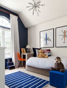 Blue and white boy's room