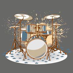 Music Symbol Tattoo, Drums Wallpaper, Drums Art, Cartoon Eyes, Music Illustration, Boat Art, Music Decor, Drum Kits, Aesthetic Iphone Wallpaper
