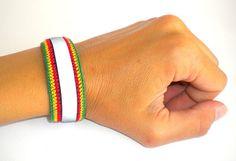 Rasta wristband, reflective cotton rasta bracelet by MultiKultiCrafts