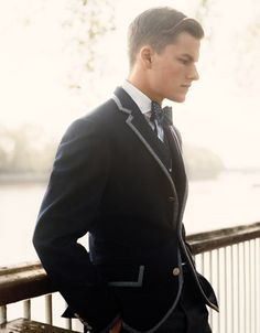 Love the trim on this jacket. Bowties are always a plus.