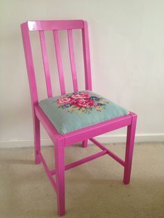 upcycled chair - repainted pink and recovered with my cath kidston needlepoint project