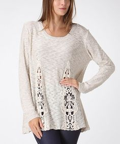 Look at this Ivory Crochet Sweater on #zulily today!