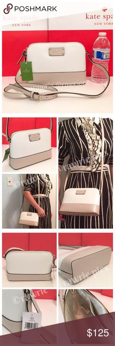 """New Kate Spade Domed leather hanna shoulder bag 100% authentic. Cream and pebble colored embossed cowhide with matching trim.14-karat light gold plated hardware.Inside slip pocket.Zip top closure and fabric lining.Adjustable strap with 17""""-23"""" drop.Measures 9"""" (L) x 6.5"""" (W) x 3"""" (W).Brand new with tags. Comes from a pet and smoke free environment. kate spade Bags Crossbody Bags"""