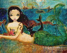 Mermaid art, mermaid print, little Mermaid-blue giclee print on canvas or paper by Shijun Munns-Fantasy art-oil painting-Signed Little Mermaid Painting, Little Mermaid Art, Mermaid Artwork, Real Mermaids, Thing 1, Merfolk, All Art, Fine Art America, Oil On Canvas