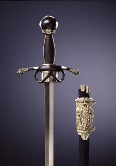 Riding Sword / set composed of riding sword with sheath, Knife and pricker and Dagger, Knife and pricker  German. From 1557 to 1559.